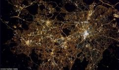 As well as aerial shots from all over the Earth, Commander Hadfield has taken pictures of much of the UK. This image shows Birmingham at night ©DailyMail