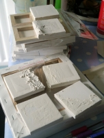 23. Mini primed canvases with filler applied for texture