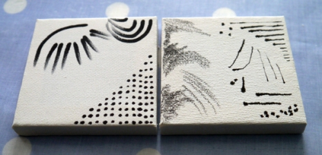 10. Mini primed canvases with marker pen (left) and pencil and ink (right)