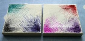9. Mini primed canvases with biro marks of varying colours