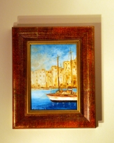 Bought this painting in Santa Margharita in Italy - just up the coast from Portofino. I love the blue against the yellow buildings and the warmth of the frame. It reminds me of glorious sunshine and happy holiday feelings.