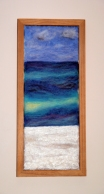 This is a felted piece I created of Key Largo in Florida. I had never seen such vibrant colours in the sea or whiteness of the sand before. It was breathtaking and my body seemed to absorb the light and the colour. I has left a marked impression on me.