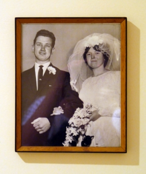My lovely Mum and Dad on their wedding day. All of these people pictures run up the stairs in my 'hall of fame'.