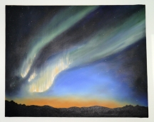 I painted this many years ago too. It is my interpretation of the Northern Lights. Note the colour combinations again!