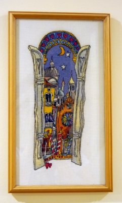 Cross stitch of a Michael Powell pattern of Venice. I love the quirky style of the drawing and the colours were so reminiscent of the place.