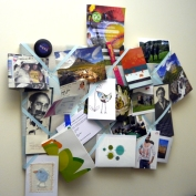 My pinboard gets added to over time. When I look at this I see teals, greens, reds and golds.