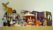 An eclectic collection of colour. Some childhod toys and my favourite German nutcracker.