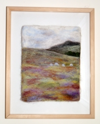 A felted picture I did of a walk in Skye. I love the overlay of the heathery colours in the foreground on this.