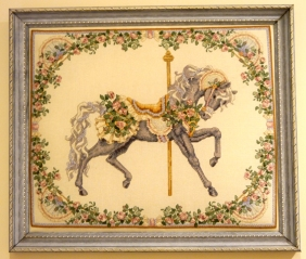 A cross stitch kit carousel horse I did many years ago.