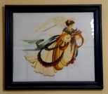 Golds and deep greens in this autumnal angel cross stitch kit I did.