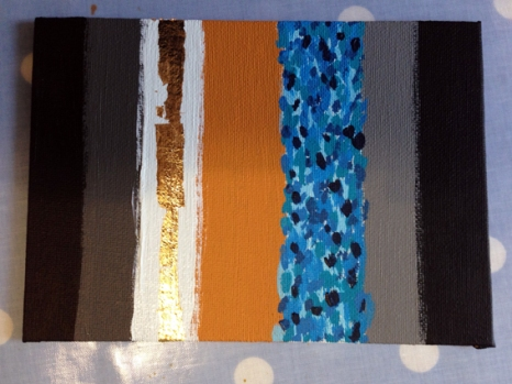 I then tired putting some gold leaf on this - just to test it out - as my favourite colour combo is blue and gold. I mind this less on the canvasas there is more texture and I couldn't make a consistent shape/line