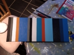 Once the varnish is on the darkest blue stripe, I seem to prefer the canvas this way round.