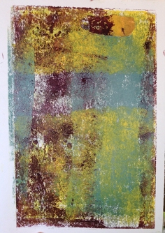Hand pressed print with grey, duck egg, yellow and purple ink with resist sections